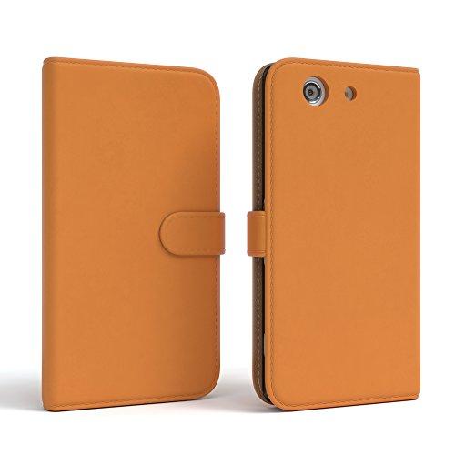 Sony Xperia Z1 Compact Hülle - EAZY CASE Premium Flip Case Handyhülle - Schutzhülle aus Leder in Schwarz Orange (Book)