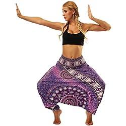 Sannysis Mujer Pantalón étnica Aladin harén Pant Aladdin Hippie yoga Pantalones bombachos de Yoga muy cómodos y de corte profundo como ropa hippie y pantalones cagados pantalones (Púrpura)