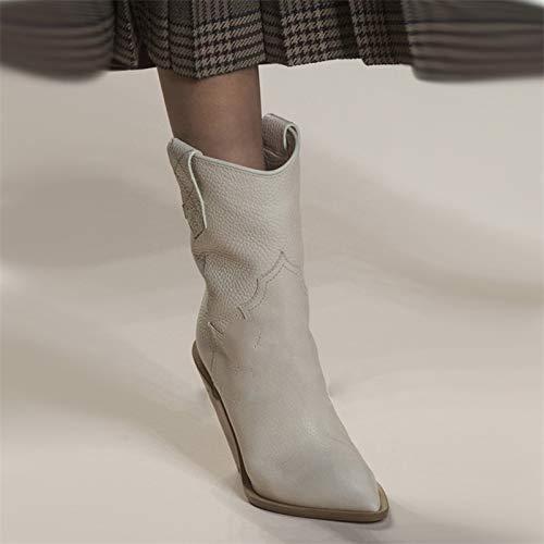 MENGLTX High Heels Sandalen Mode Geprägte Mikrofaser Leder Damen Wadenhohe Stiefel Spitz Westlicher Junge Stiefel Grobe High Heels Stiefel Schuhe 6 Beige - Geprägt Kalb Leder