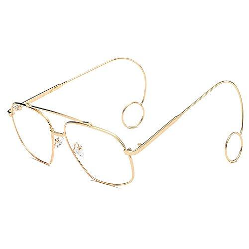 GWF Persönlichkeit Ohrringe Sonnenbrillen zarte Sonnenbrille für Frauen Männer Unisex stilvolle Dame Brillen einfache Sonnenbrille dünne Metallrahmen UV-Schutz anmutig umrandeten Sonnenbrillen