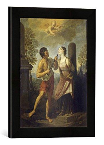 Gerahmtes Bild von Flaminio Torri Das Martyrium der heiligen Apollonia, Kunstdruck im hochwertigen handgefertigten Bilder-Rahmen, 30x40 cm, Schwarz matt