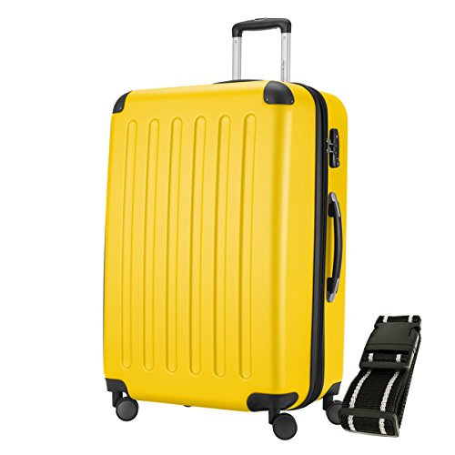 HAUPTSTADTKOFFER® Hartschalen Koffer SPREE 1203 · 128 Liter · MATT · TSA Zahlenschloss · + GEPÄCKGURT (Gelb)