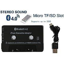 [dernière version] itape Récepteur audio Bluetooth V4.0+ EDR Adaptateur cassette avec micro, Micro SD TF fente pour lecteur cassette ruban Bureau ou Cassette Deck de voiture