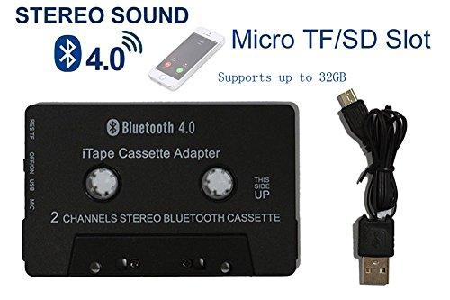 [Neueste Version] iTape Schutzhülle Bluetooth V4.0+ EDR Kassette Adapter Audio Receiver mit Mikrofon, Micro SD TF Slot für Auto Kassette Schreibtisch Kassette oder Tape Deck Player (Tape-adapter Bluetooth)