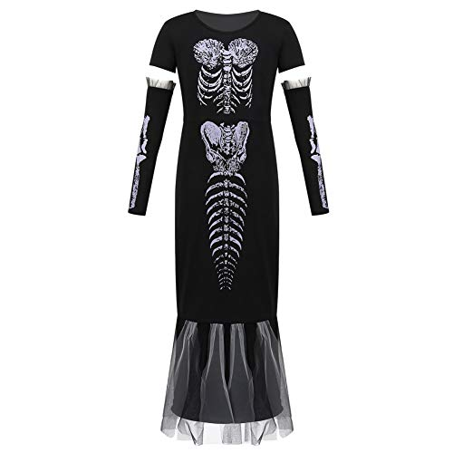 FIREWSJ Halloween Kostüm Dekoration Kinder Teen Kurzarm Print Langes Halloween Kleid Mit Arm Set Mädchen Rollenspiel Party Scary Skeleton Kostüm (Scary Kostüm Teens)