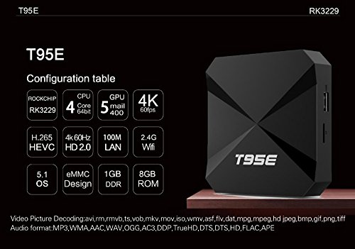 DONG Set top box STB digital TV network TV BOX T95E quad-core RK3229  Android 6 0 BT4 0 2G+8G Wifi smart HD home plastic (11 7*11 7*2 5cm)