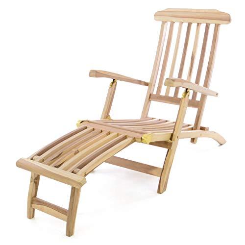 Divero Liegestuhl Deckchair Florentine Steamer Chair mit Fußteil Teak Natur, Liegestuhl, Sonnenliege, Holzliege, Holz, Gartenstuhl