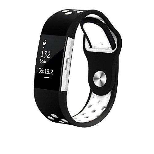 GiBot Silikonband für Fitbit Charge 2, verstellbar, flexibel, atmungsaktiv, für Herren- und Damen-Smartwatch, 1 Stück S weiß (Fabric Extender)
