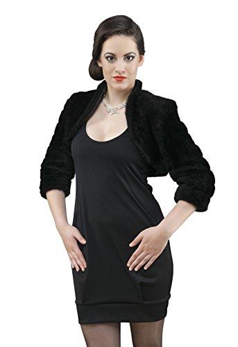 MGT-shop 60–sposa BOLERO E42volpe pelzt Imitation Bolero Cape sposa stola in nero Gr 36–42 nero