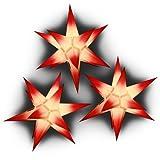 Sternschmiede 3 Papiersterne beleuchtet, Netzteil, Komplettset (weiß mit roten Spitzen)