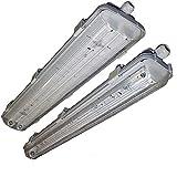 LED Feuchtraumleuchte Feuchtraumwannenleuchte Kellerleuchte für LED Röhren (2x120cm)