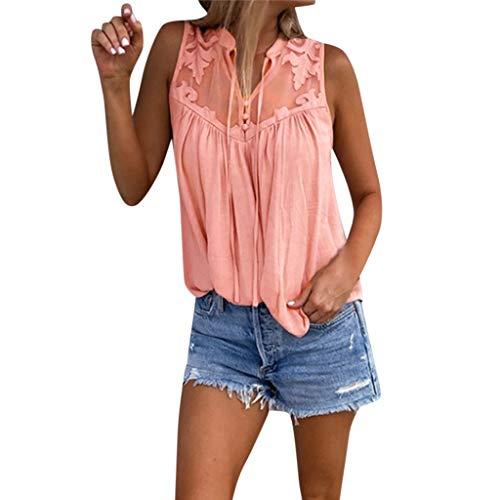 QingJiu Damen Fahsion Chiffon Stitching Lace V Ausschnitt äRmelloses Shirt Tops Bluse Womens (XX-Large, Rosa) -