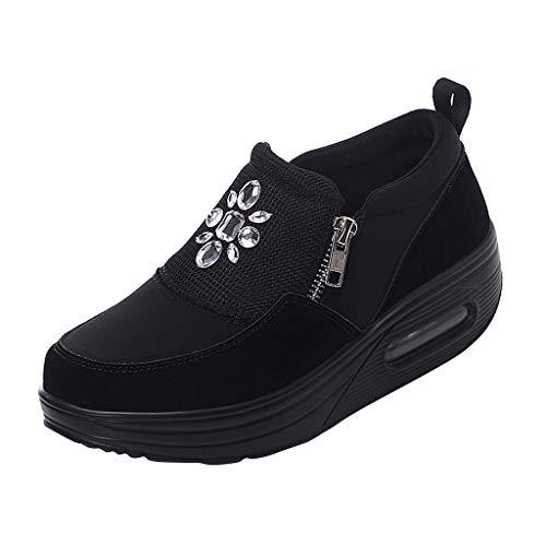 Tefamore Zapatos Invierno Plataforma Mocasines Balanceo Fondo Grueso para Mujer Zapatos Caminar Ocio...