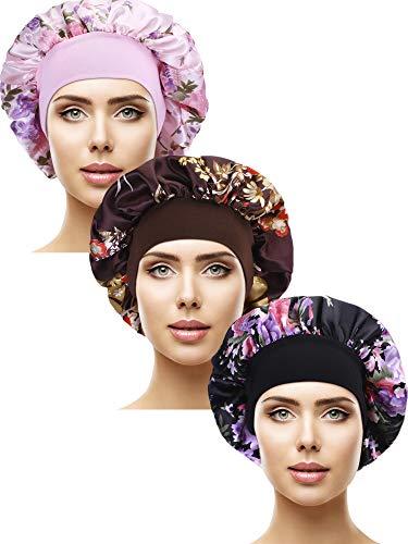 3 Stücke Satin Schlafmütze Elastisch Breit Band Hut Nacht Schlaf Kopfbedeckung für Schlafbedarf (Farbe Set 2) -