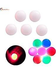 marketboss 5Pcs delicado bolas de golf de LED parpadeante con doble fuerza de construcción 75% fuerte resistencia Gran bola de larga distancia para práctica de golf/Golf, diseño de juegos para aficionados