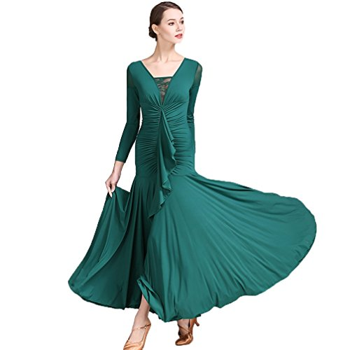 Ballsaal Tanz Damen Performance Schnüren V-Ausschnitt Tüll Front gefaltet Lange Ärmel Schlank Moderner Walzer Natürliches Kleid, Green, L -