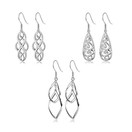 YADOCA 3 Paare Edelstahl Keltischer Knoten Hohlen Tropfen Ohrringe für Frauen Mädchen Twist Dangle Filigrane Ohrringe Doppel Loops Design Ohrringe Damen Geschenk