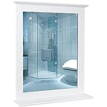HOMFA Espejo con Estante Mueble de pared con Espejo 57X12X68CM Estante de baño MDF Color Blanco