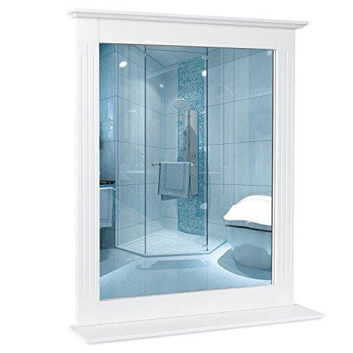 HOMFA 57x68cm Wandspiegel Badspiegel mit Ablage Hängespigel Spiegel für Badezimmer Wohnzimmer Flur Holz 57x12x68cm