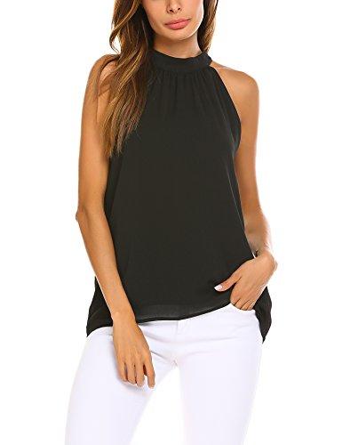 Beyove Damen Chiffon Bluse Tunika Shirt Hemd Ärmellos Tops Oberteil mit Neckholder, C-schwarz, EU 40(Herstellergröße:L)