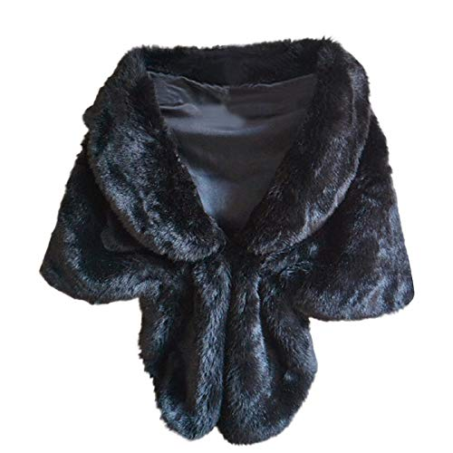 STRIR Estolas para Fiestas Mujer de Pelo Sintético Chales de Invierno y Otoño Decoración para Vestidos (Negro)