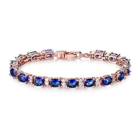 GULICX Sapphire Color Tennis Bracelet Zircon Rose Gold Plated Blue Crystal Bangle Link Chain for Women Girls