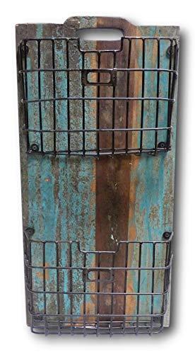 UrbanDesign Wandregal Hängeregal Regal mit 2 Körben Vintage Retro Look Massiv Mangoholz Holz Metall (Shabby Blue)