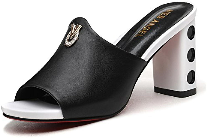 ZHIRONG Verano Sandalias Vintage Mujeres Colorblock Open Toe Rhinestone de tacón grueso Zapatos de tacón alto...