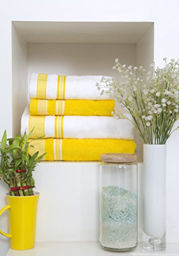 Spaces Bath Carnival 4 Piece 420 GSM Cotton Towel Set - Yellow and White
