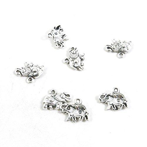 510 piezas de abalorios de plata envejecida T2YG2L para manualidades con elefantes