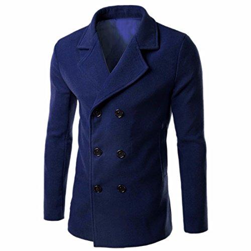 QIYUN.Z Laine À Double Boutonnage De Mode Manteau De Pois Vêtements Mince Pardessus Les Hommes Bleu Marin