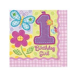 1.Geburtstag Birthday Girl 16 Servietten 3lg. 32,7x32,7cm