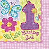 Pack Of 16 Hugs & Stitches Pink 1st Birthday Napkins