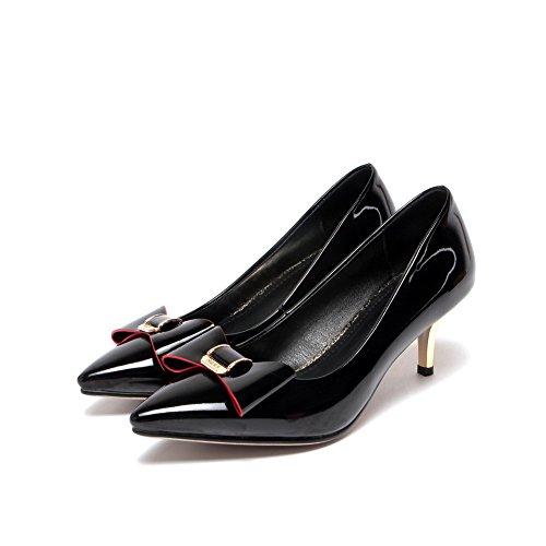 AllhqFashion Femme Verni à Talon Bas Pointu Couleur Unie Tire Chaussures Légeres Noir