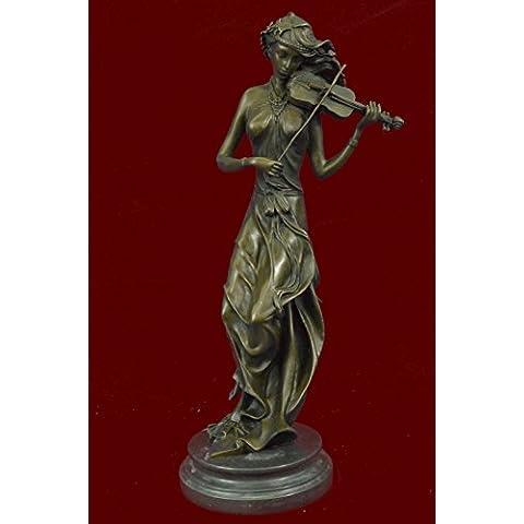Statua di bronzo Scultura...Spedizione Gratuita...Female musicale Violin Player Art Nouveau Hot Fusioni(YRD-556-JP)Statue Figurine Figurine Nude per ufficio e casa Décor Primo Giorno Collezionismo Ar