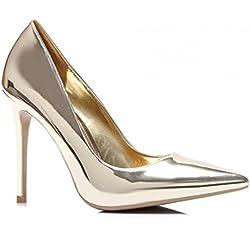 Schuhzoo - Damen High Heels Pumps Gold Silber NEU Gr. 35-40-Gold-38