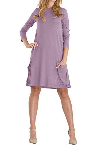 OMZIN Damen Scoop Neck Pockets A-Linie Swing Casual Minikleid Light Purple M
