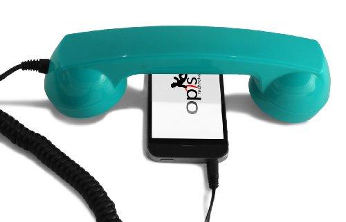 Special Edition: Opis 60s micro - Retro Handyhörer für Smartphones und Handys in der Form eines klassischen Telefonhörers (Screaming Turquoise) (Telefonhörer Handy)