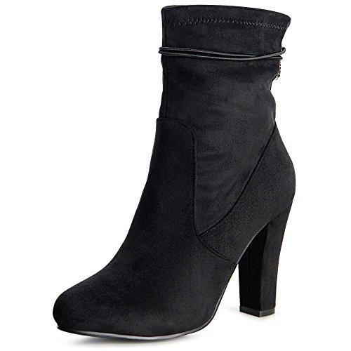 topschuhe24 996 Damen Stiefeletten Ankle Boots Schwarz