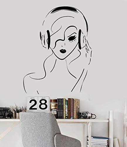 Modeganqingg Neues Angebot Vinyl wandtattoo Teen mädchen Frau Musik Kunst kopfhörer Musik Aufkleber Dekoration 75 cm x 97 cm