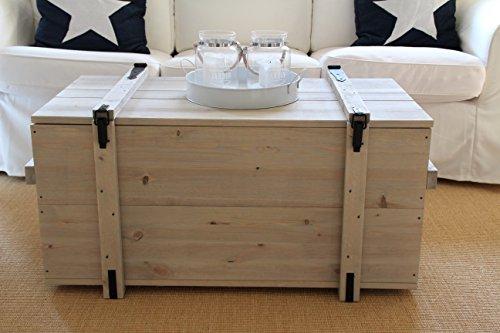 Uncle Joe´s Truhe Couchtisch Truhentisch im Vintage Shabby chic Style aus Massiv-Holz in grau mit Stauraum und Deckel Holzkiste Beistelltisch Landhaus Wohnzimmertisch Holztisch - 2