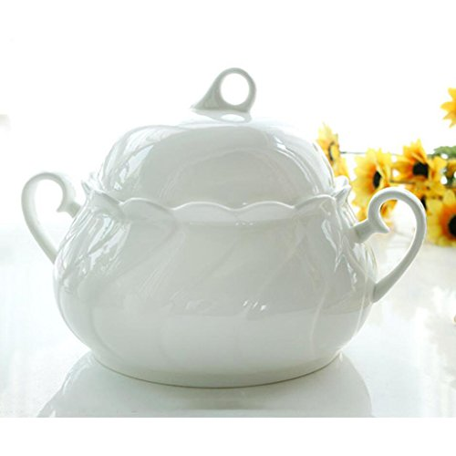MXJ61 Bone China Pure White with Cover Soup Basin Soup Bowl 2500ml (Taille : No Spoon)