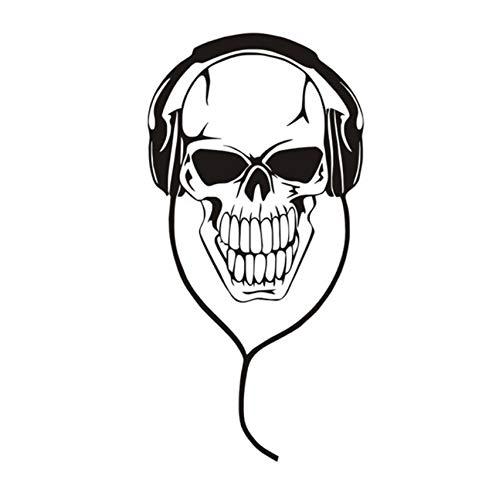 Kreative hohle musik DJ schädel mit kopfhörer wandaufkleber kunst vinyl abnehmbare wohnzimmer dekoration wasserdicht 85x43cm