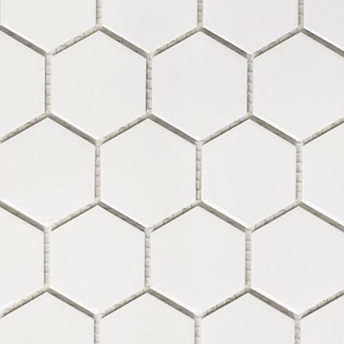 Mosaik Fliese Keramik Hexagon weiß matt für BODEN WAND BAD WC DUSCHE KÜCHE FLIESENSPIEGEL THEKENVERKLEIDUNG BADEWANNENVERKLEIDUNG Mosaikmatte Mosaikplatte