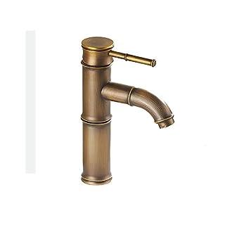 AYL Vintage Antik Bronze Full Copper Bambus Deck montiert Küche Badezimmer Hotel Waschbecken Wasserhahn Wasserhahn, Kupfer, 2 Joints Curve Mouth
