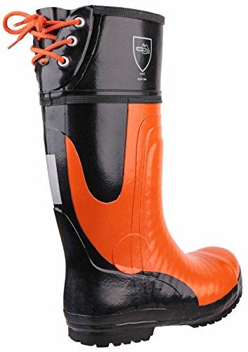 Amblers Safety FS992 Chainsaw S5 Wellington de sécurité Black/orange
