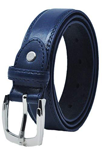 Ossi foderato in pelle 28mm di cintura per bambini - blu scuro dimensioni piccolo (70cm - 80cm)