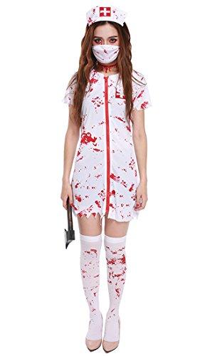 Honeystore Damen's Erwachsene Krankenschwester Nurse Kostüm Schwester Damen Zombie blutiges Halloween Zombiekostüm M