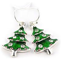 SCHMUCKZUCKER Damen Ohrhänger Weihnachtsbaum Modeschmuck Weihnachtsohrringe silber-farben Glitzer grün