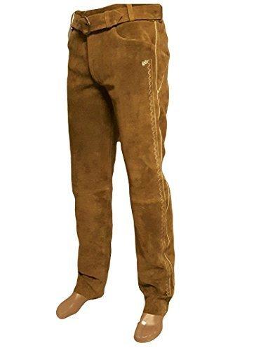 SHAMZEE Trachten Lederhose lang inklusive Gürtel in Camel farbe Echt Leder SHAMZEE Trachtenlederhosen Gr. 46-62 (taillenmaß stehen im beschreibung) (50, Camel)